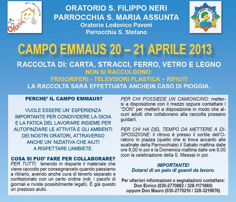 Campo Emmaus aprile 2013