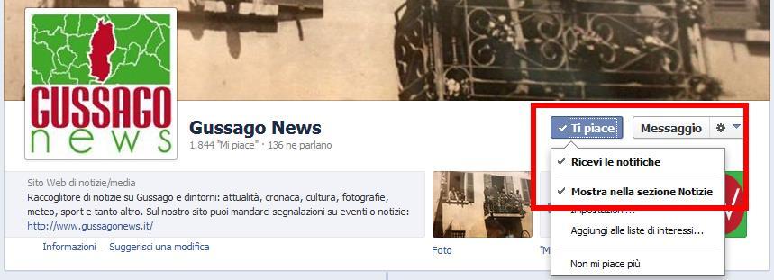 "Verifica ""Mi Piace"" Gussago News"