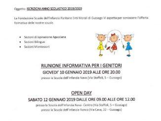 Open day Scuole infanzia Fondazione Enti Morali gennaio 2019