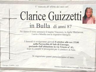 Necrologio Clarice Guizzetti 2020