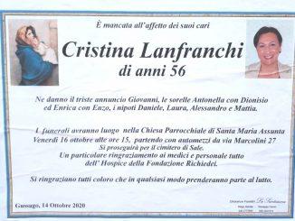 Necrologio Cristina Lanfranchi 2020