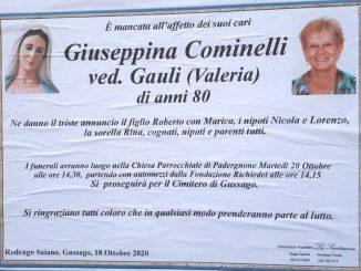 Necrologio Giuseppina Cominelli 2020