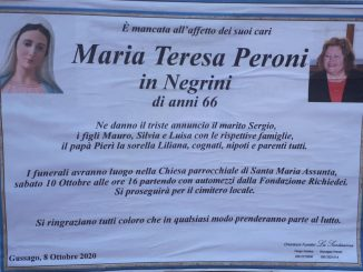 Necrologio Maria Teresa Peroni 2020