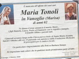 Necrologio Maria Tonoli 2020