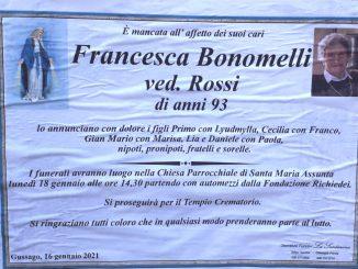 Necrologio Francesca Bonomelli 2021