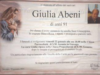 Necrologio Giulia Abeni 2021