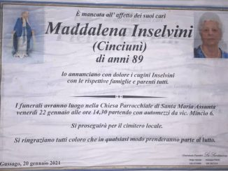 Necrologio Maddalena Inselvini 2021