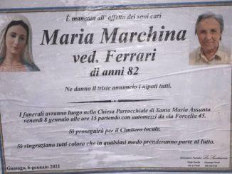 Necrologio Maria Marchina 2021