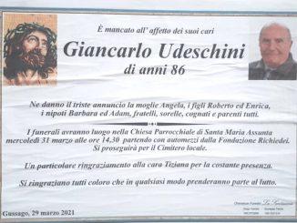 Necrologio Giancarlo Udeschini 2021