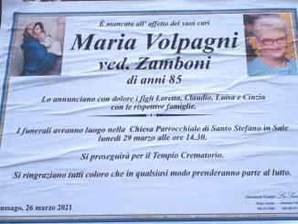 Necrologio Maria Volpagni 2021