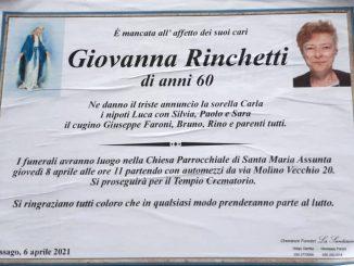 Necrologio Giovanna Rinchetti 2021