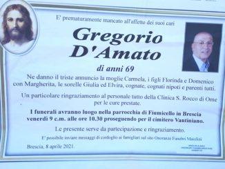 Necrologio Gregorio D'Amato 2021