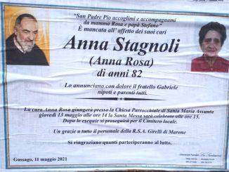 Necrologio Anna Stagnoli 2021