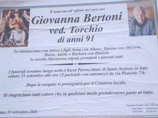 Necrologio Giovanna Bertoni 2021