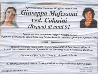 Necrologio Giuseppa Mafessoni 2021