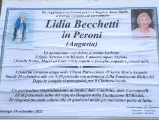 Necrologio Lidia Becchetti 2021