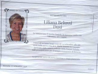 Necrologio Liliana Belussi 2021